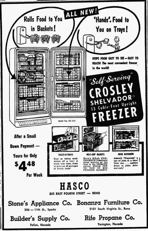 Appliances for sale, 1955