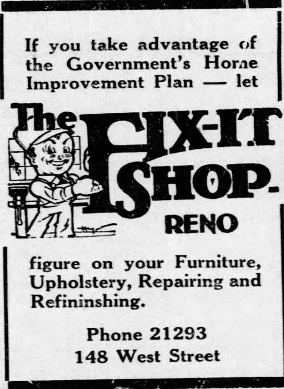The Fix-It Shop ad, 1934