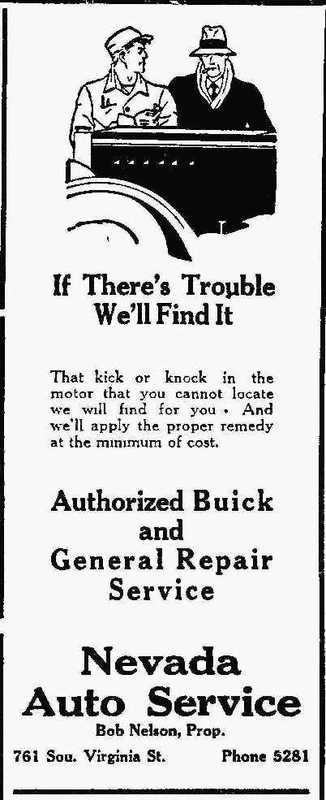 Nevada Auto Service ad, 1932
