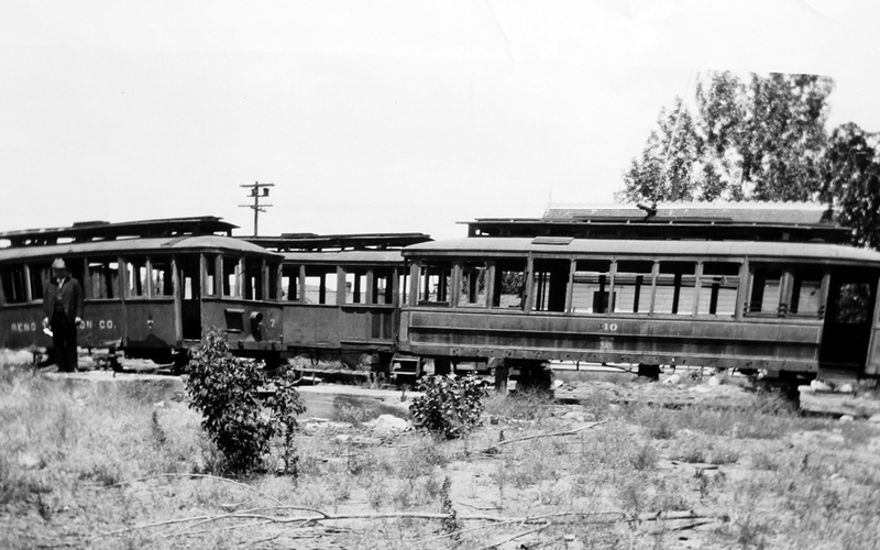 Abandoned streetcars, ca. 1930