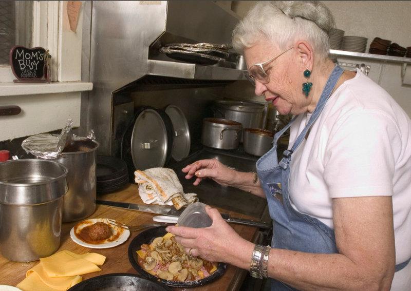 Mama Inez in the kitchen