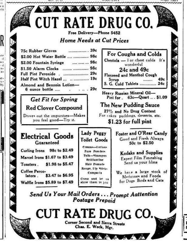 Cut Rate Drug Company, 1930