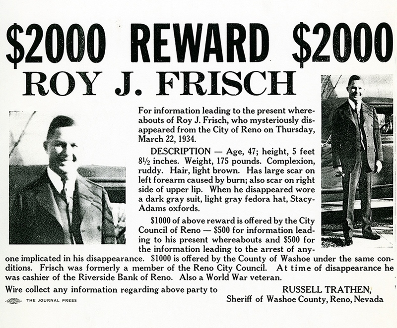Reward offered, 1934