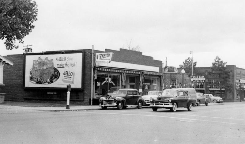 Busy commercial corridor, ca. 1955