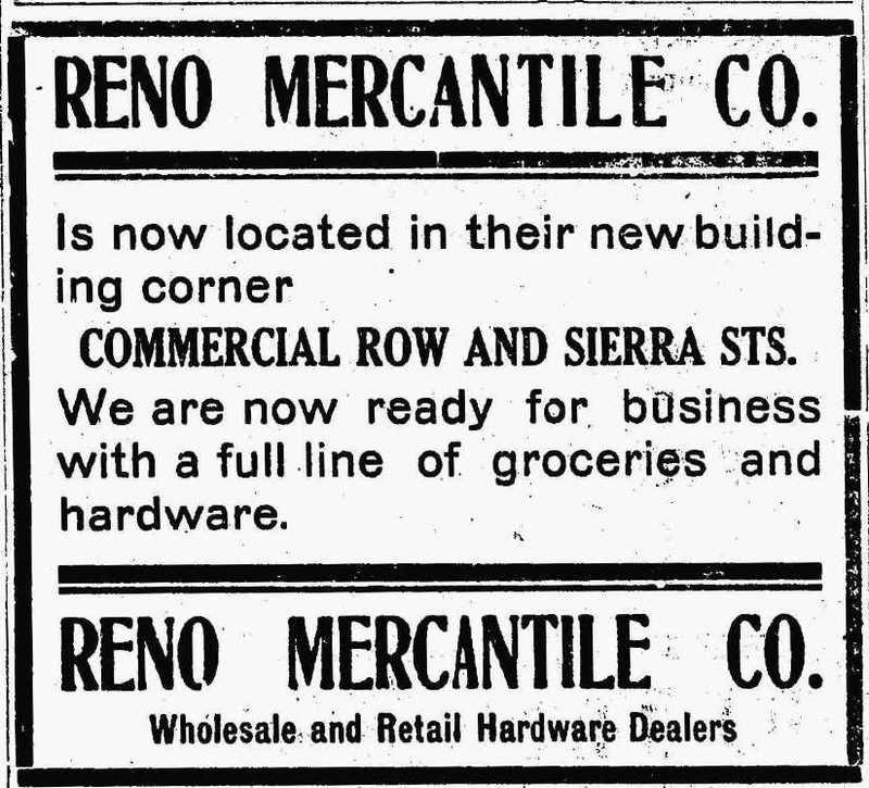 Reno Mercantile ad, 1907