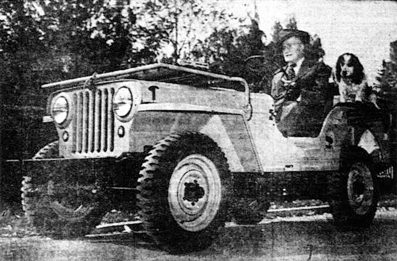 """Mayor Pilots Peacetime Jeep"""