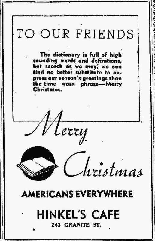 Hinkel's Cafe ad, 1943