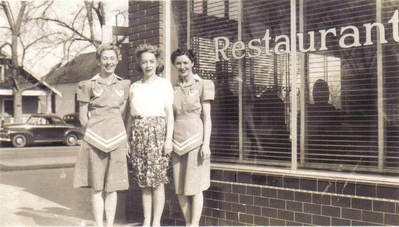 Outside Heric's Restaurant, 1940s