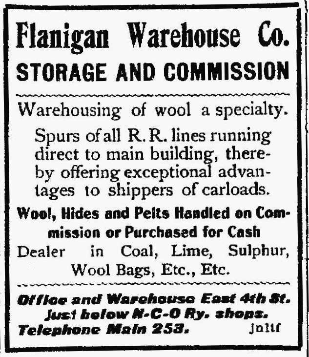 Flanigan Warehouse ad, 1902