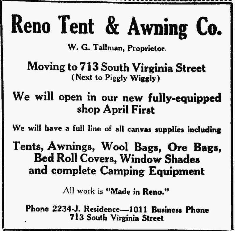 Reno Tent & Awning, 1926
