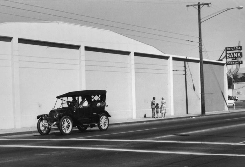 Modern store, vintage car