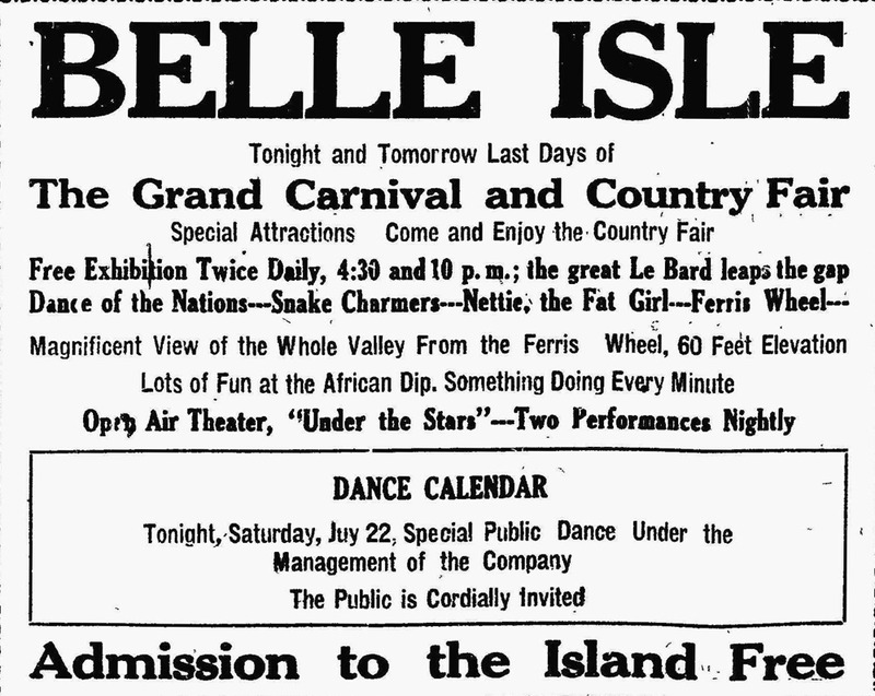 Belle Isle advertisement, 1911