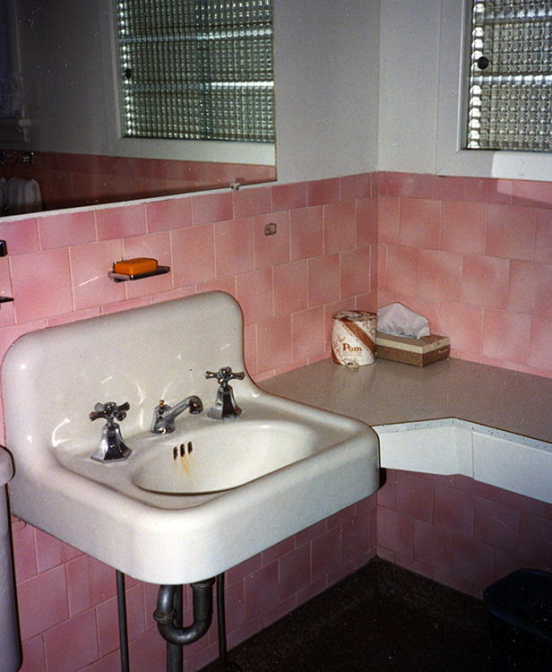 Pink tiled bathroom, 1950s style
