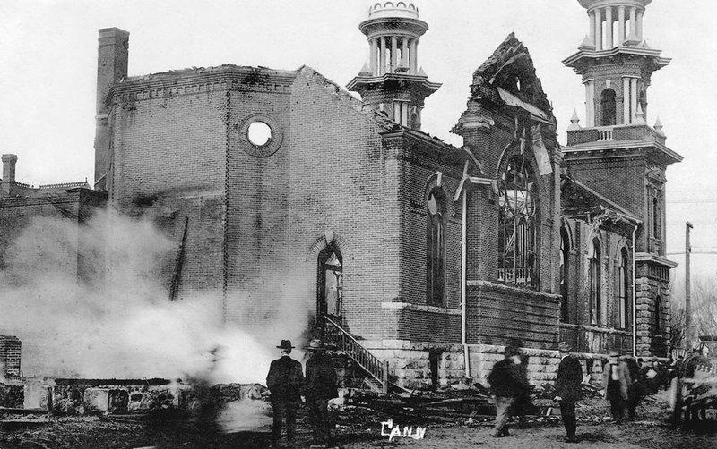 Photo of the fire at St. Thomas Aquinas Church